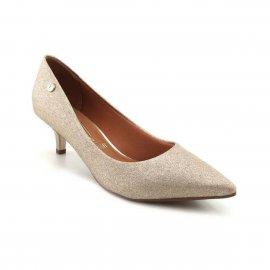 Imagem - Sapato Scarpin Dourado Glitter Vizzano Salto Baixo