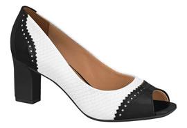 Imagem - Sapato Peep Toe Vizzano Preto e Branco