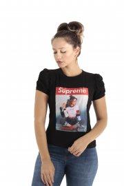 Imagem - T-Shirt Feminina Manga Bufante com Aplicação