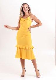 Imagem - Vestido Amarelo com Babado Alças Finas Mikasa