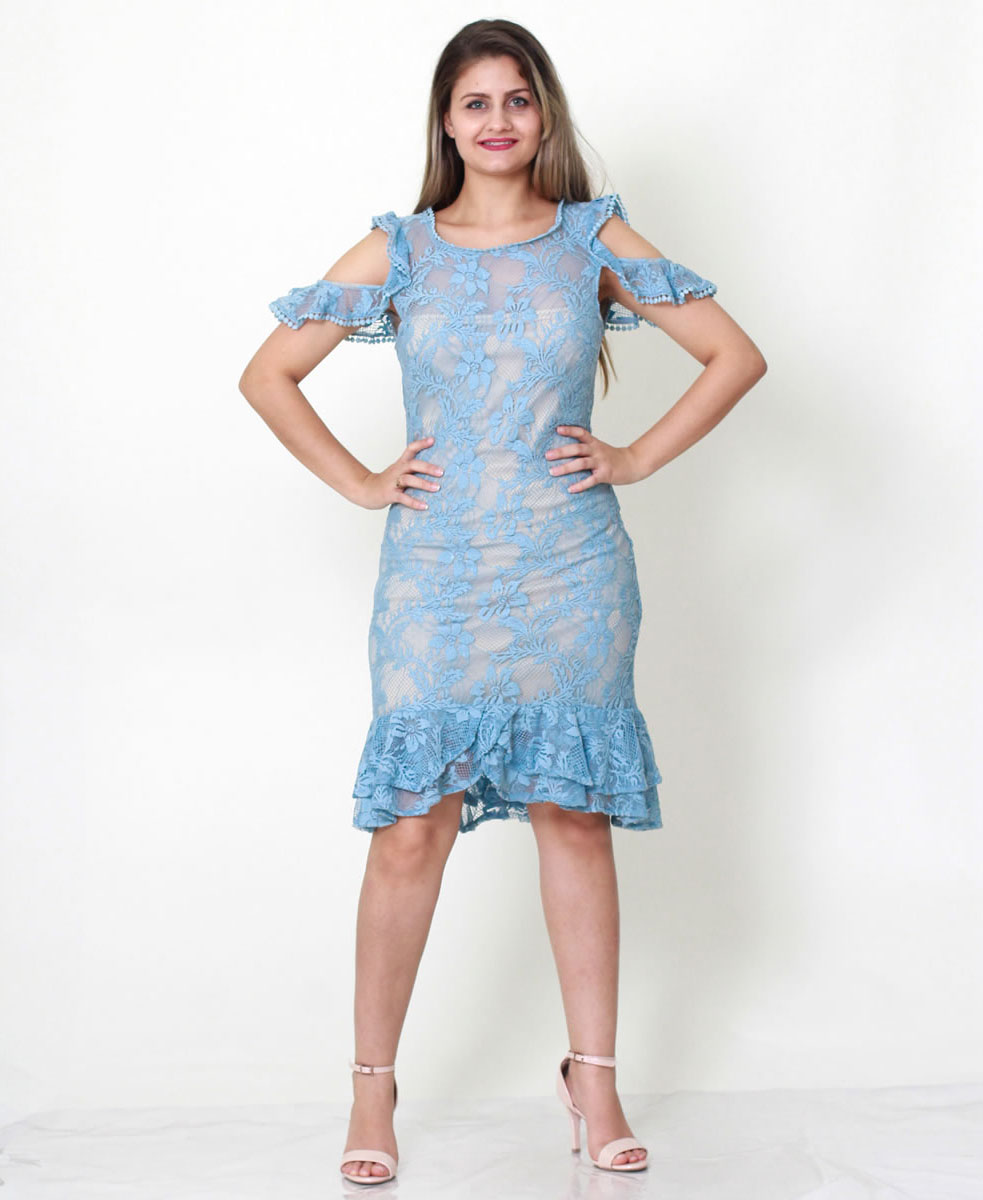 Imagem - Vestido renda com peplun azul