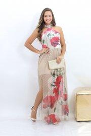 Imagem - Vestido Bana Bana Gola Choker Estampado