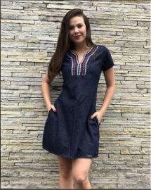 Vestido Feminino Jeans Moda evangélica