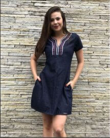 Imagem - Vestido Feminino Jeans Moda evangélica