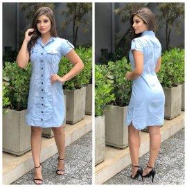 Imagem - Vestido Jeans Feminino Chemise com Botões Na frente