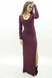 Imagem - Vestido Feminino Longo Com Fenda Lateral