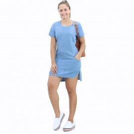 Imagem - Vestido Jeans Curto com Fenda Lateral
