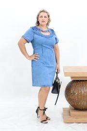 Imagem - Vestido Jeans Feminino Justo Moda Evangélica