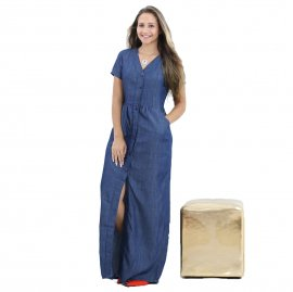 Imagem - Vestido Jeans Longo Decote V Fenda Frontal