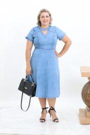 Imagem - Vestido Jeans Midi Gode Moda Evangélica Plus Size