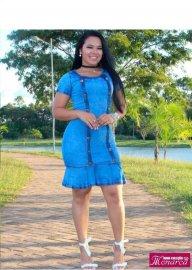 Imagem - Vestido Jeans Moda Evangélica com Botões