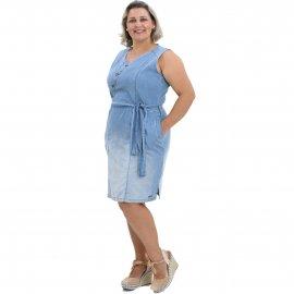 Vestido Jeans Plus Size Amarração na Cintura