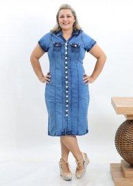 Vestido Jeans Plus Size Feminino Botões Na Frente