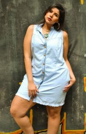 Imagem - Vestido Jeans Plus size Sem Manga