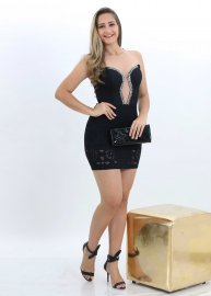 Imagem - Vestido Feminino Renda com Tule