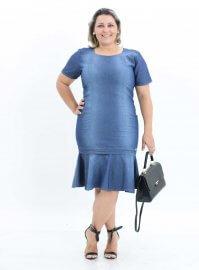 Imagem -  Vestido Jeans Feminino Plus Size Moda Evangélica
