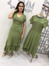 Imagem - Vestido Midi com Babados Moda Evangélica