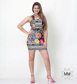 Imagem - Vestido estampado curto com recortes