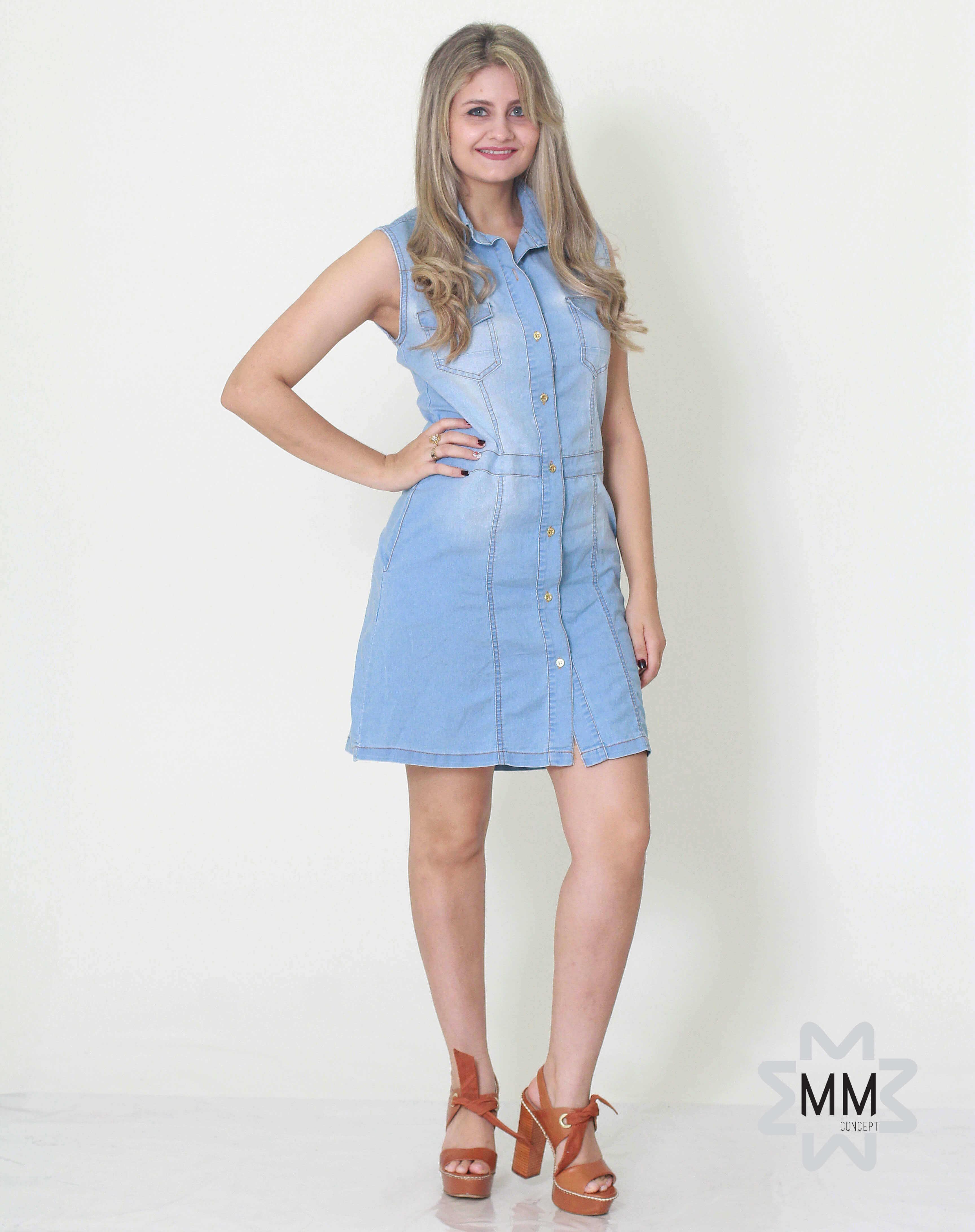 4d9cac735 Imagem - Vestido jeans curto sem manga