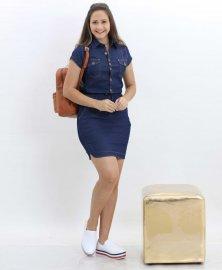 Imagem - Vestido Jeans Feminino com Cordão de Ajuste na Cintura