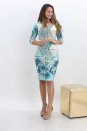 Imagem - Vestido Feminino Justo com Cinto Moda Evangelica