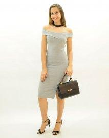 Imagem - Vestido Feminino Ombro a Mostra Transpassado Canelado