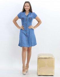 Imagem - Vestido Jeans Feminino Chemise com Botões