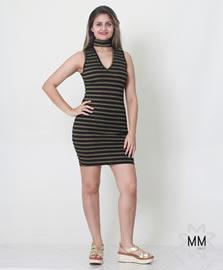 Imagem - Vestido canelado com choker