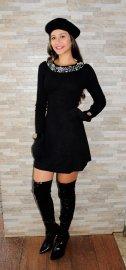 Imagem - Vestido Manga Longa Tricot com Perolas