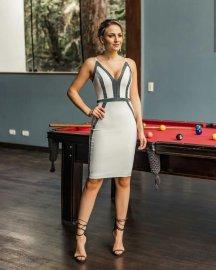 Imagem - Vestido Social Feminino Com Recortes em Lurex