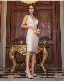 Imagem - Vestido Social Feminino Lurex Com Nó No Busto