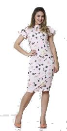 Imagem - Vestido tubinho com manga estampado