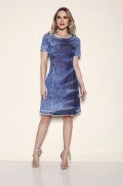 Imagem - Vestido Feminino Jeans Moda Evangélica Titanium