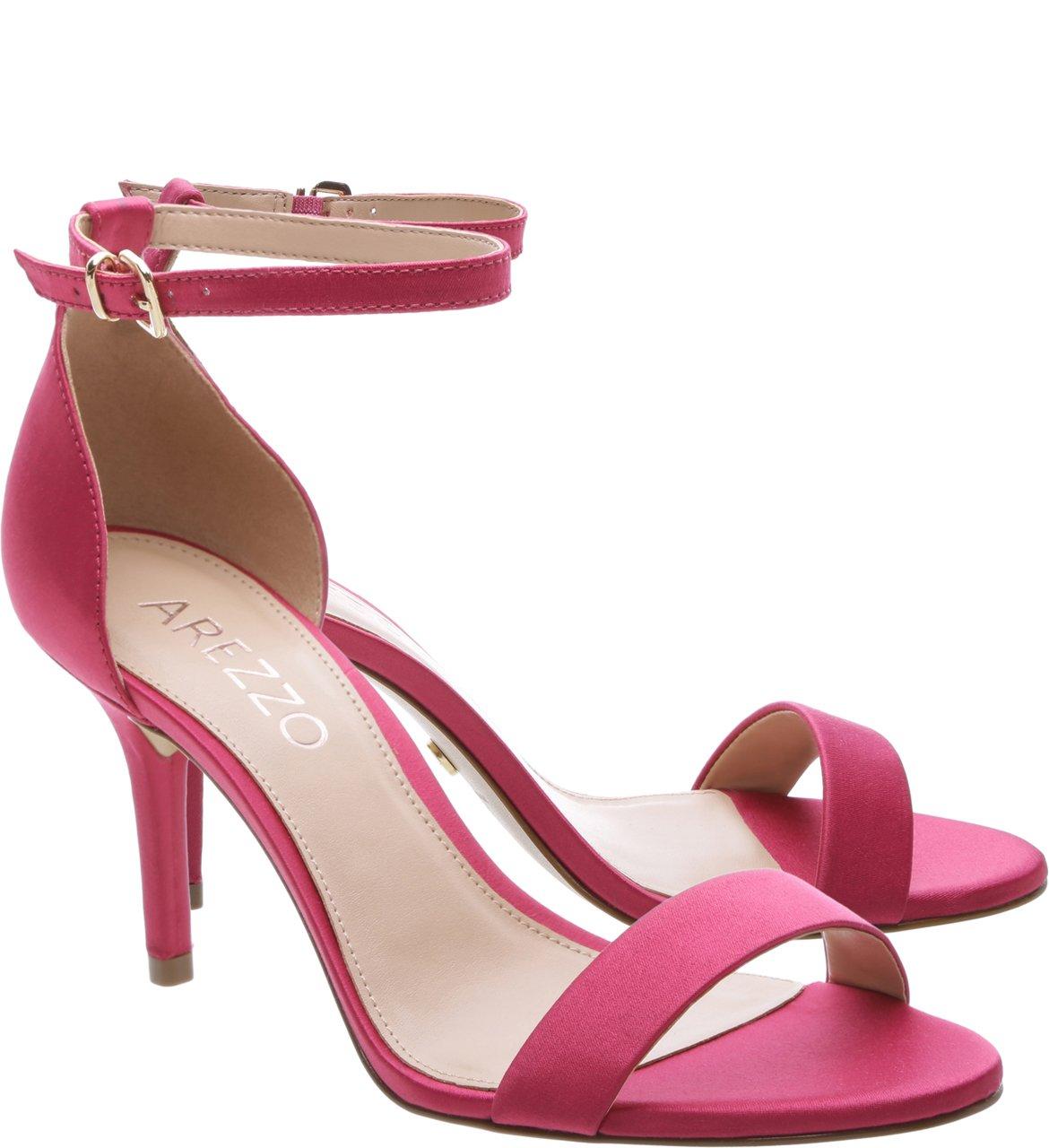 a49a1ae677 Sandalia Isabeli Arezzo Salto Medio Fino Pink