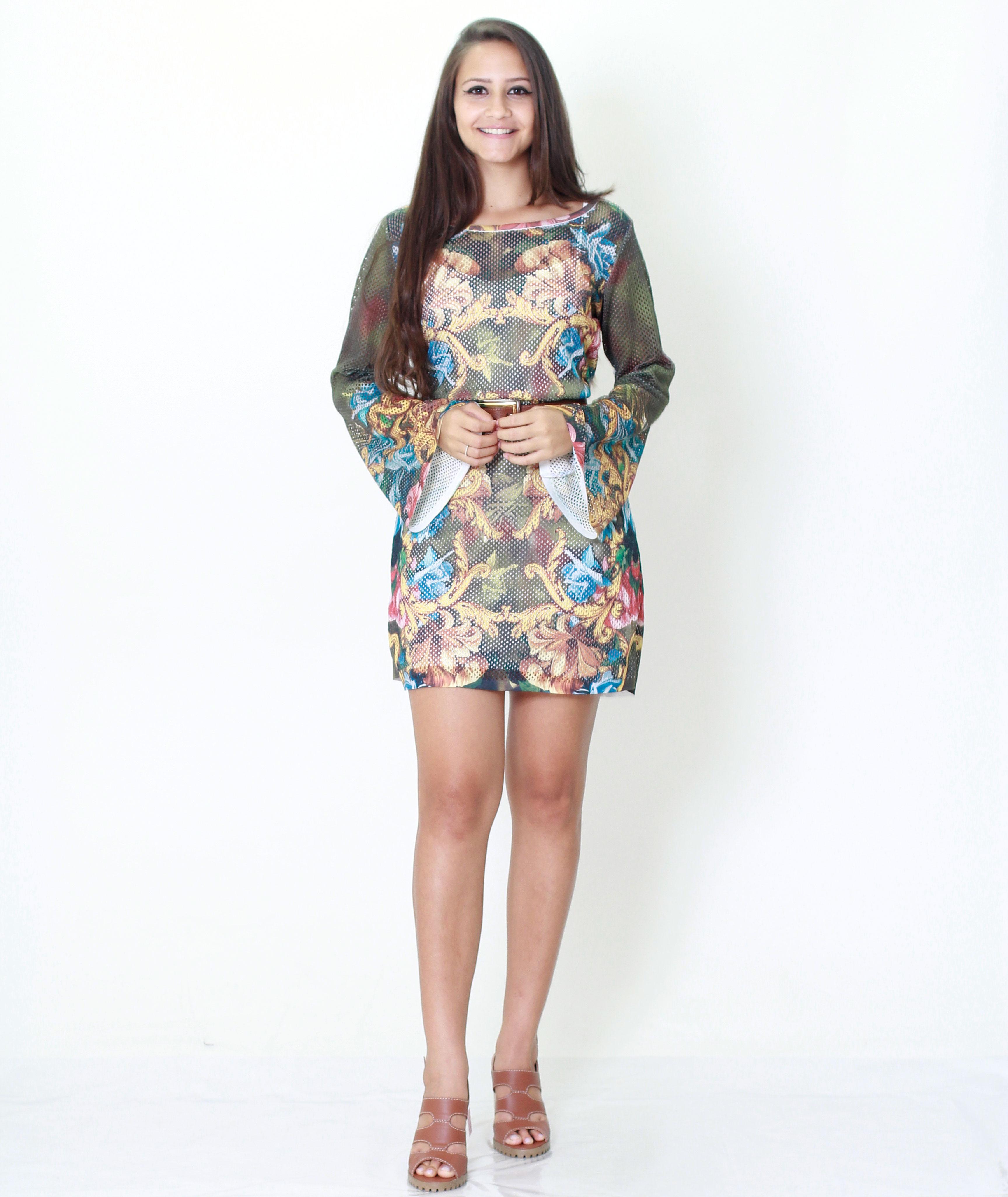 3f3334b95 Vestido Lanca Perfume Tule Frente Estampado Estampado - MM Concept