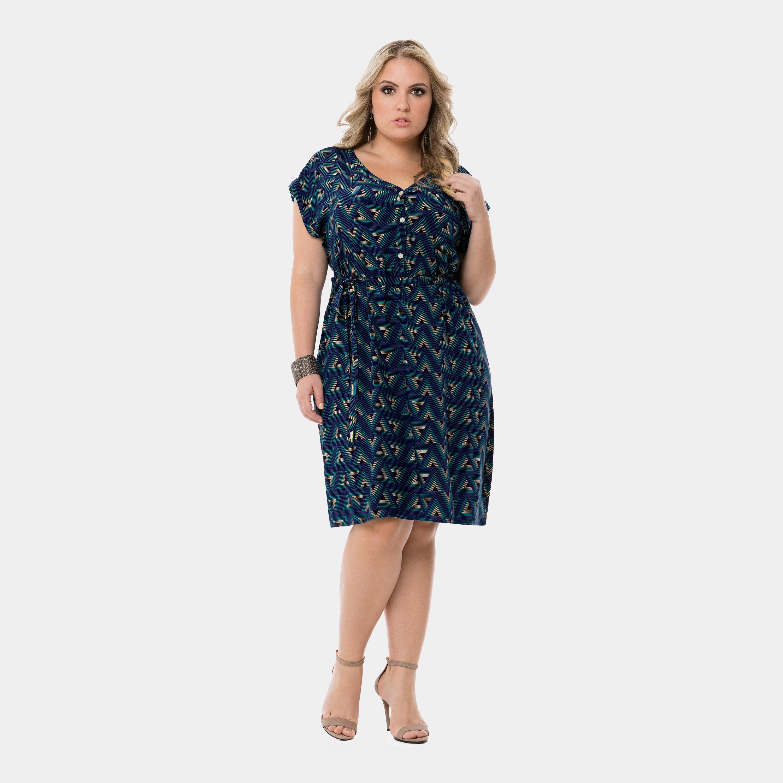 Vestido Lunender Plus Size Estampado