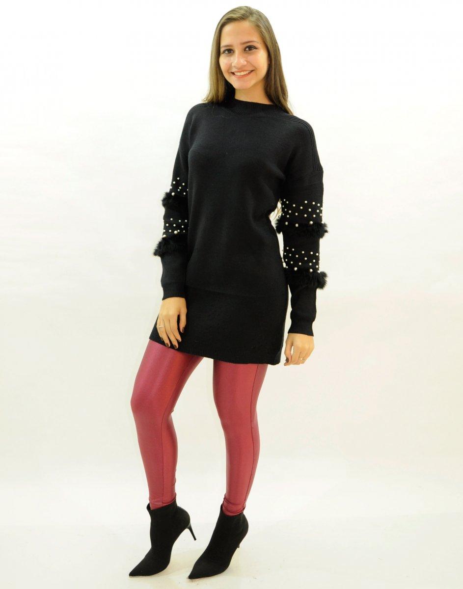 Vestido Blusa Alongada Mini Veste Feminina Tricot