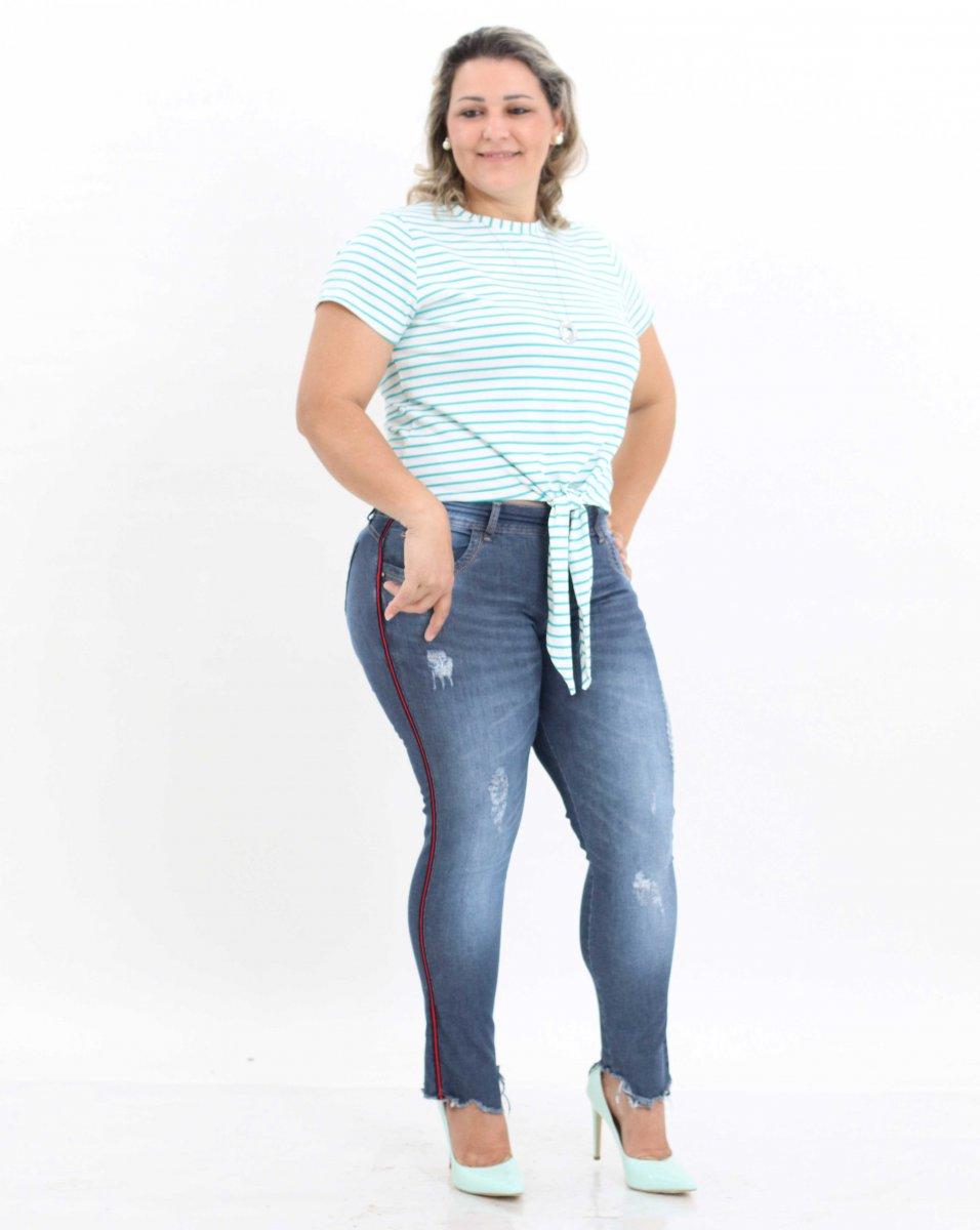 125aea029 Blusa Feminina Listrada com Amarração Frontal Plus Size