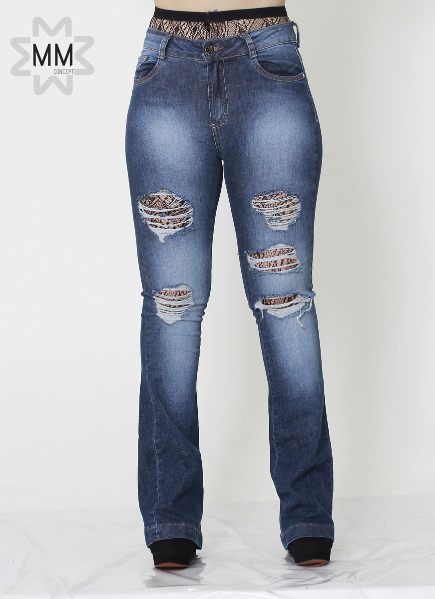 5f5447c2cbd19c Calca Jeans Feminina Flare Detonada