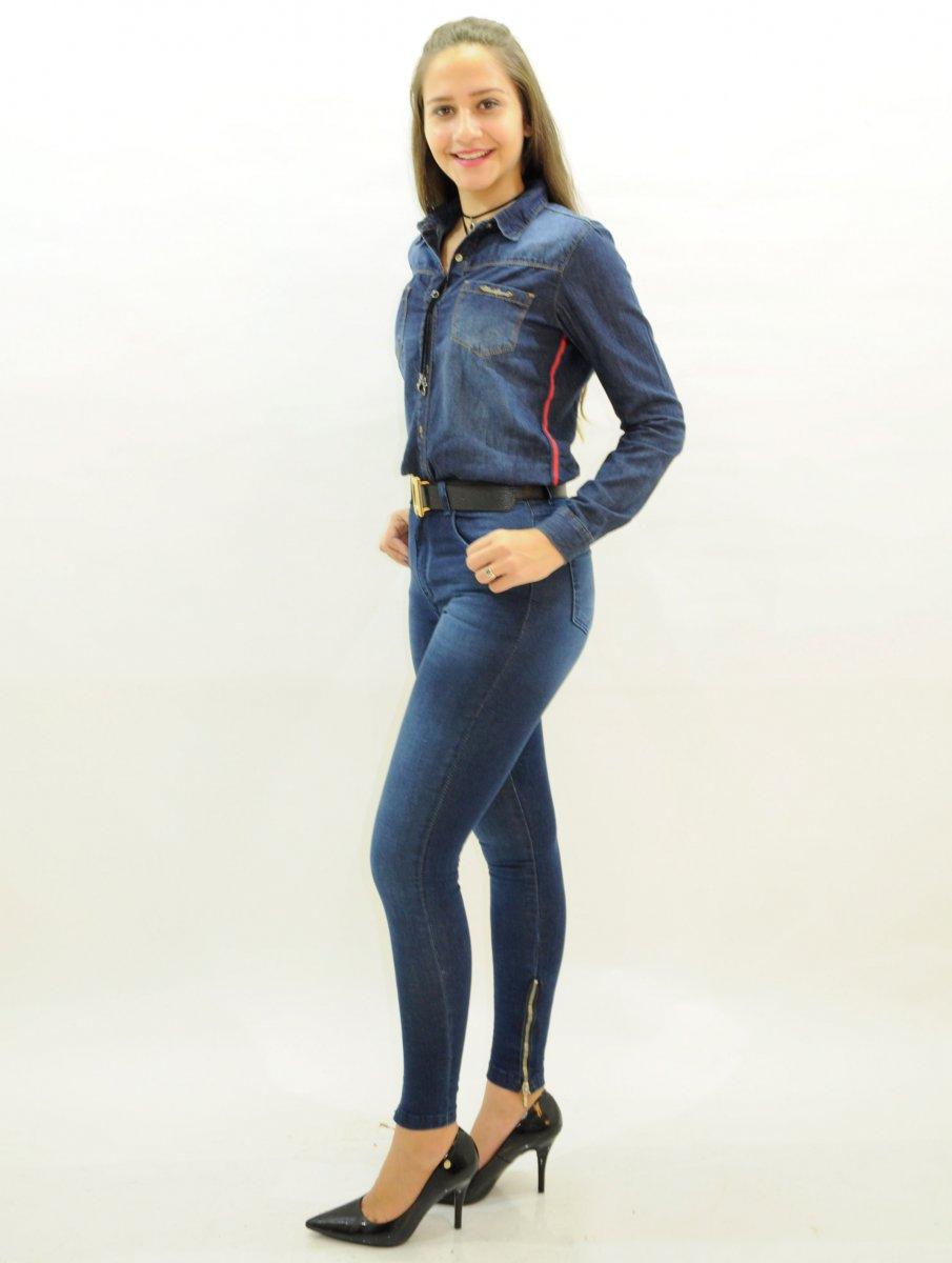 8b22aa279 Calça Jeans Feminina Cigarrete com Zíper na Barra