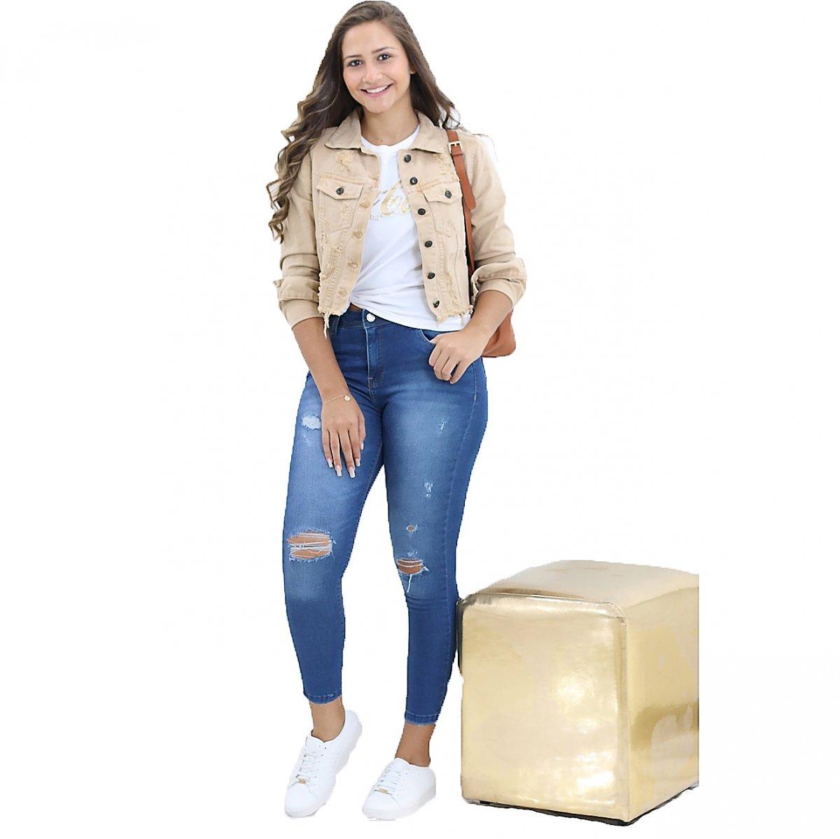 906496bd0b56 Calça Feminina Dardak Jeans Cigarrete Destroyed Jeans - MM Concept