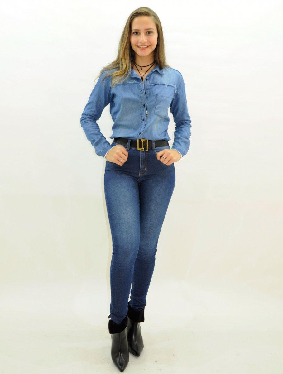 100b16fa73 Camisa Jeans Feminina Manga Longa Dardak