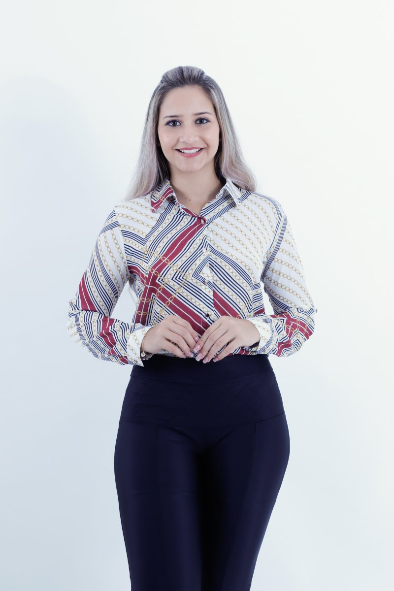 cf69b86d3 Camisa Feminina Social Crepe Manga Longa Estampada Branco e Vermelho - MM  Concept