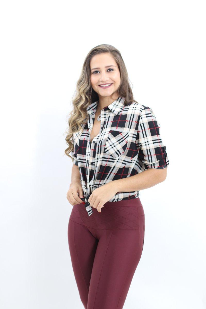 ee8b429ce7 Camisa Feminina Xadrez MM Concept Manga Longa Preto e Branco - MM Concept