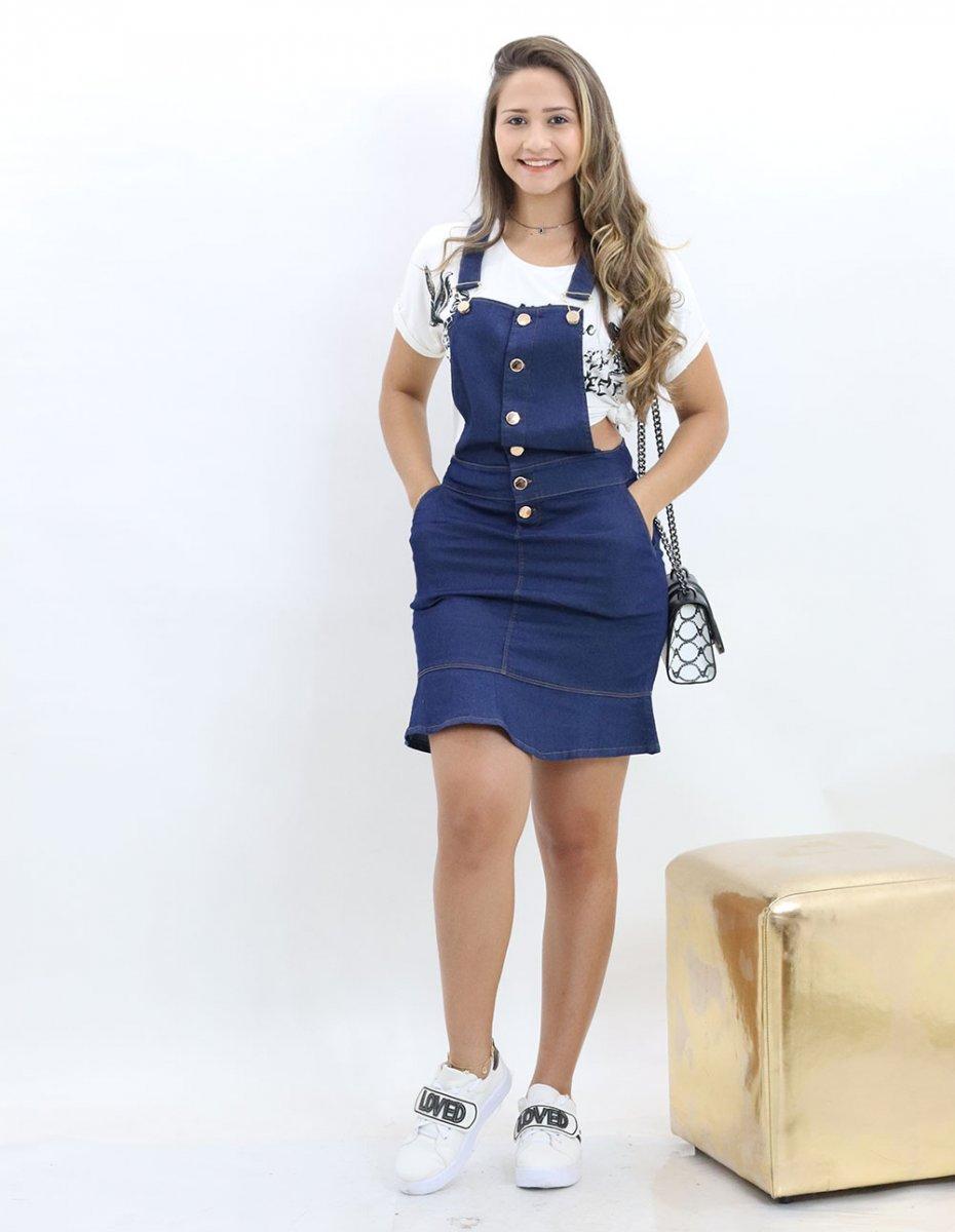 dc500e828 Jardineira Jeans Feminina Com Babados