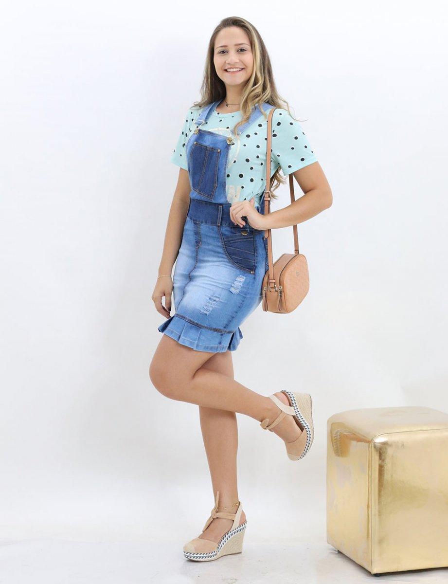 c8b77dcfe Jardineira Jeans Feminina Moda Evangelica Com Babado