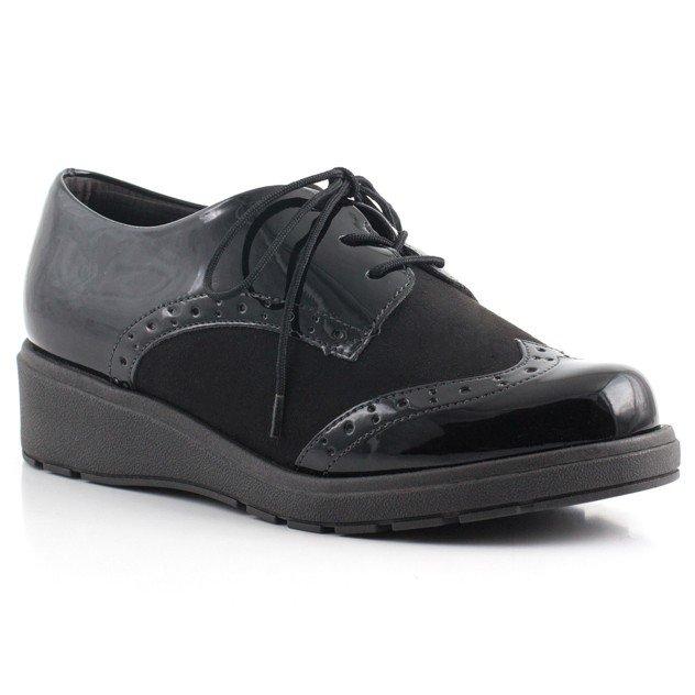3165dcaa0 Sapato Oxford Feminino Piccadilly Verniz com Cadarco Preto - MM Concept