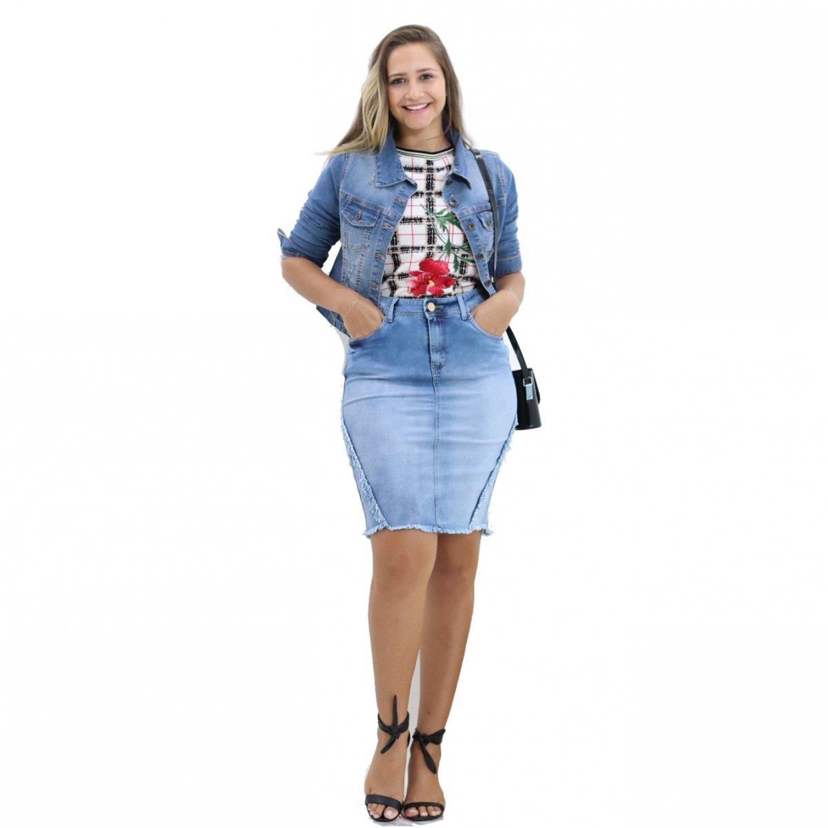 56f35cab59 Saia Jeans Secretaria Barra Desfiada Jeans - MM Concept