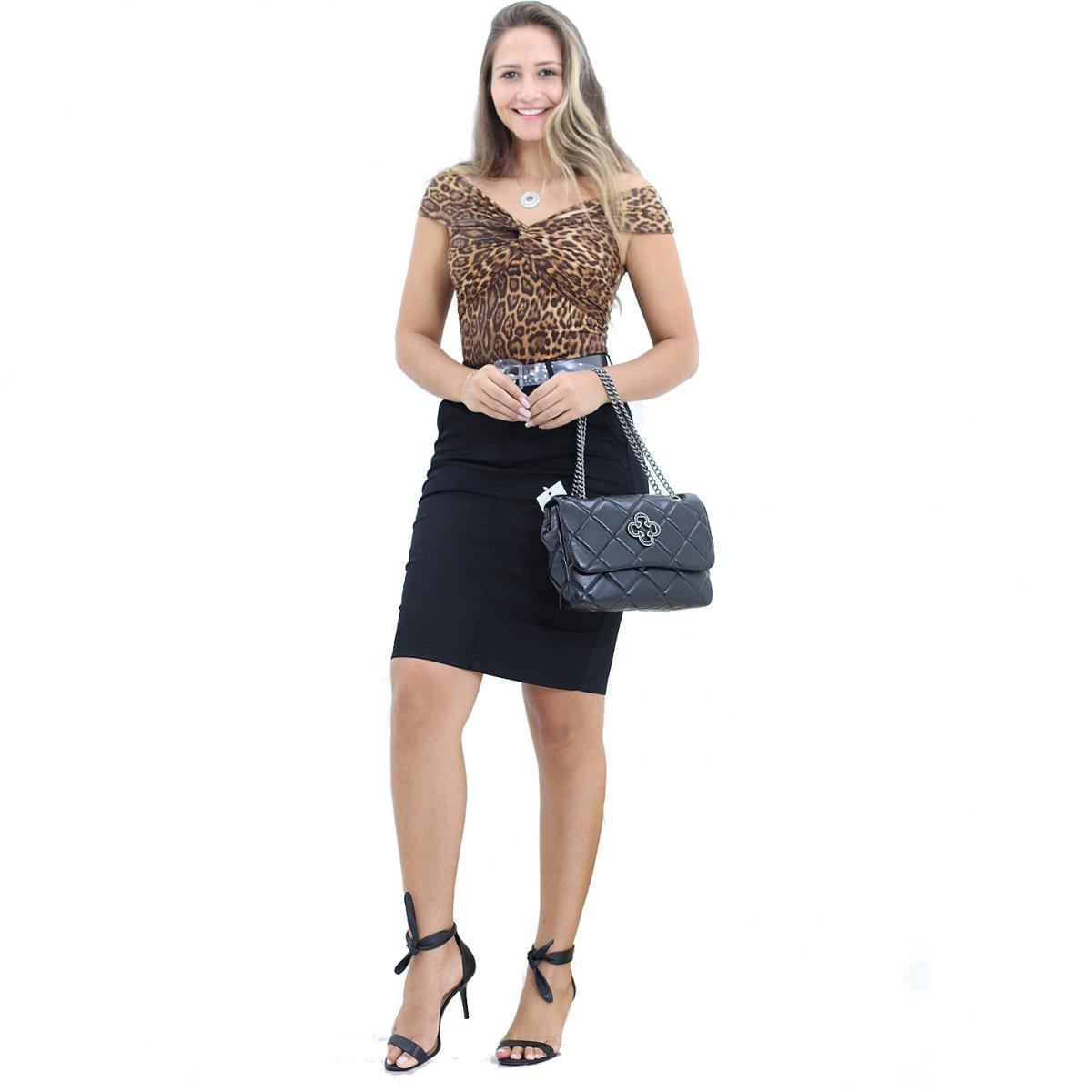 7998160394 Saia Preta Jeans Secretaria Moda Evangélica Preto - MM Concept