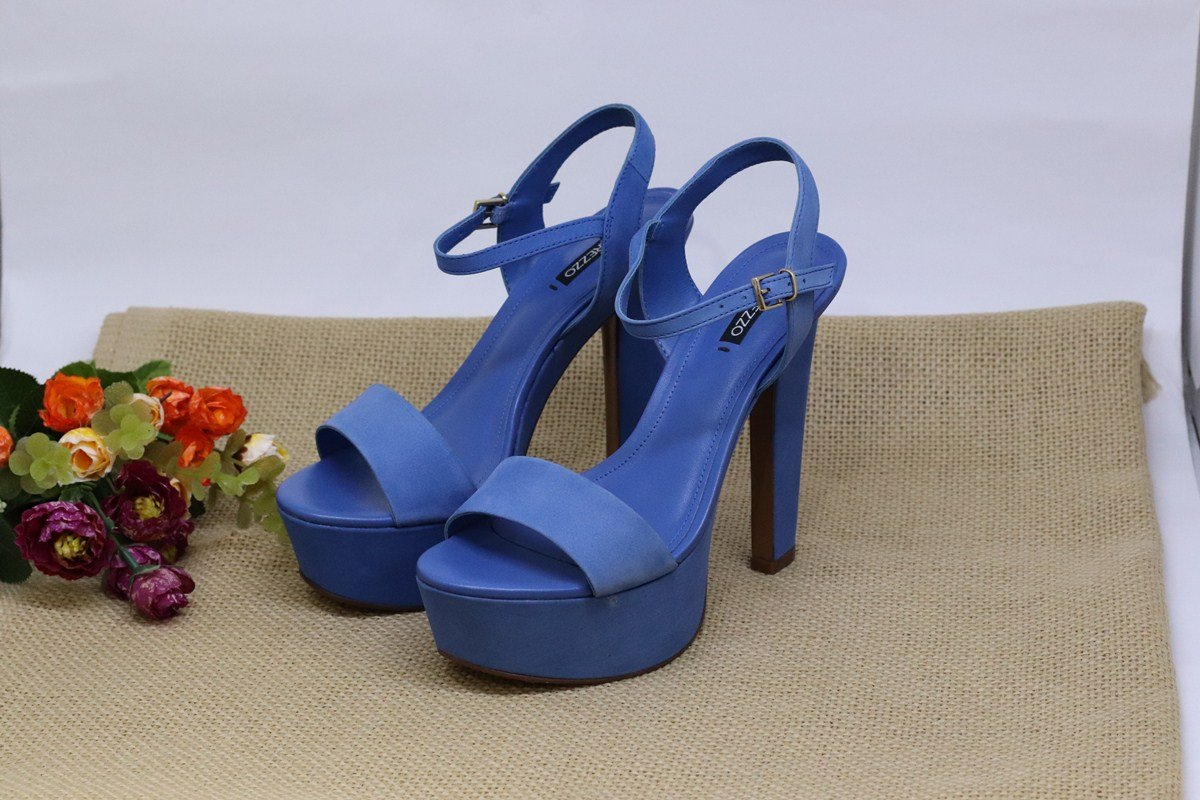 f25895381 Sandalia Arezzo Meia Pata Salto Alto Azul